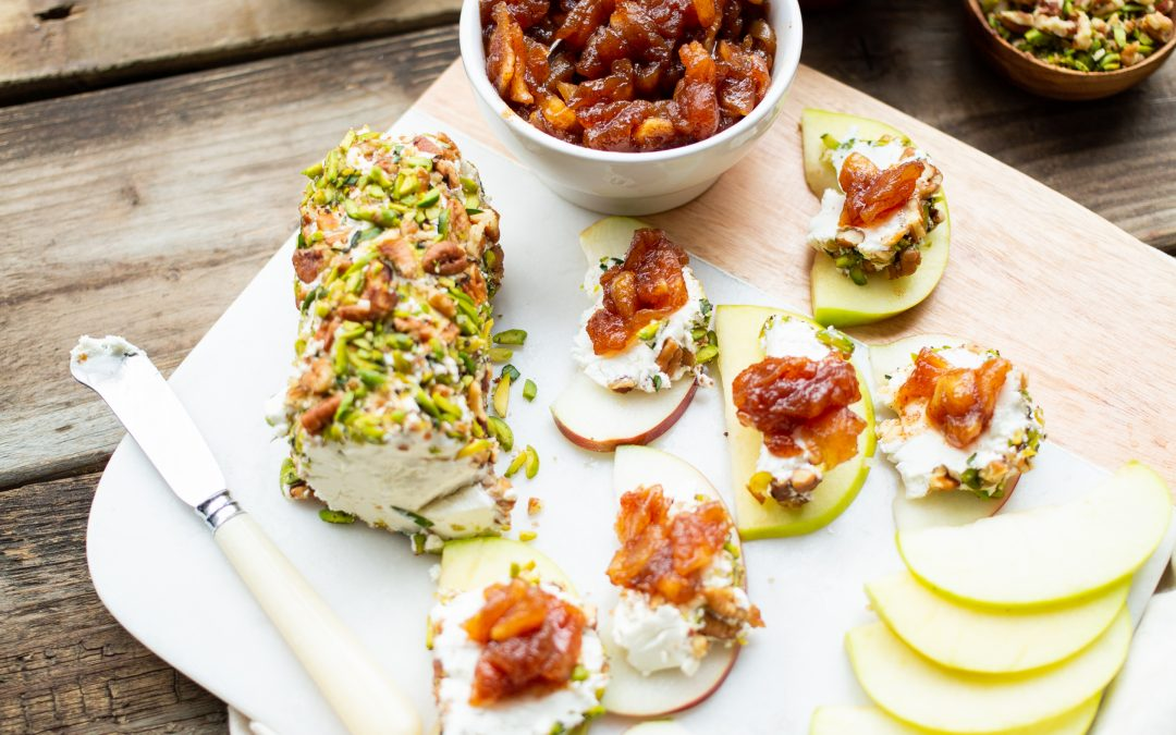 Pecan Goat Cheese Log with Ontario Apple Chutney
