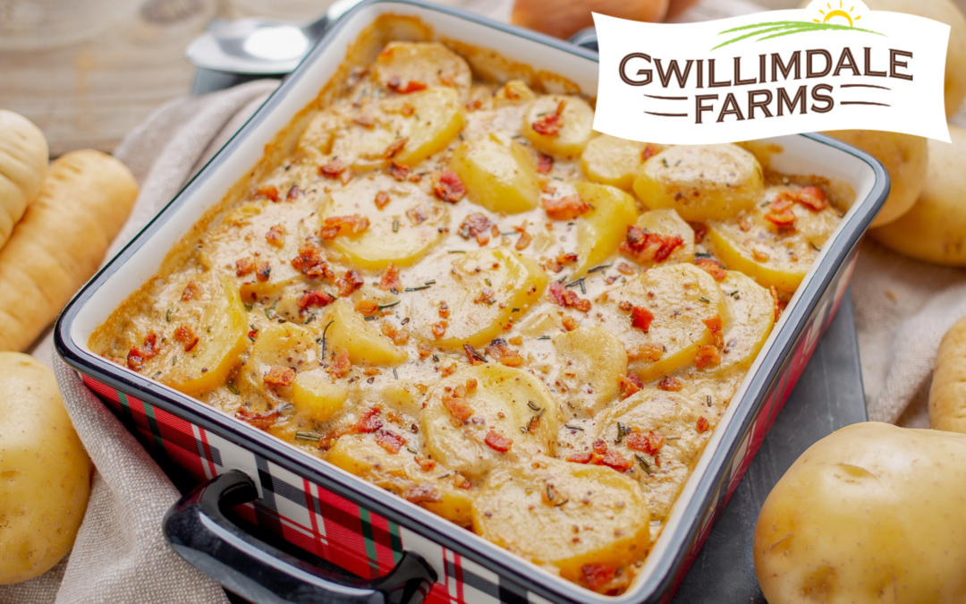 Potato and Parsnip Gratin with Bacon and Mustard