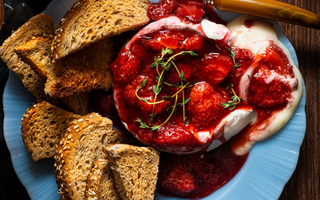Baked Brie with Strawberry Balsamic Compote