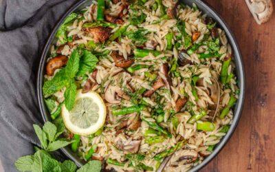Grilled Asparagus and Mushroom Orzo Salad