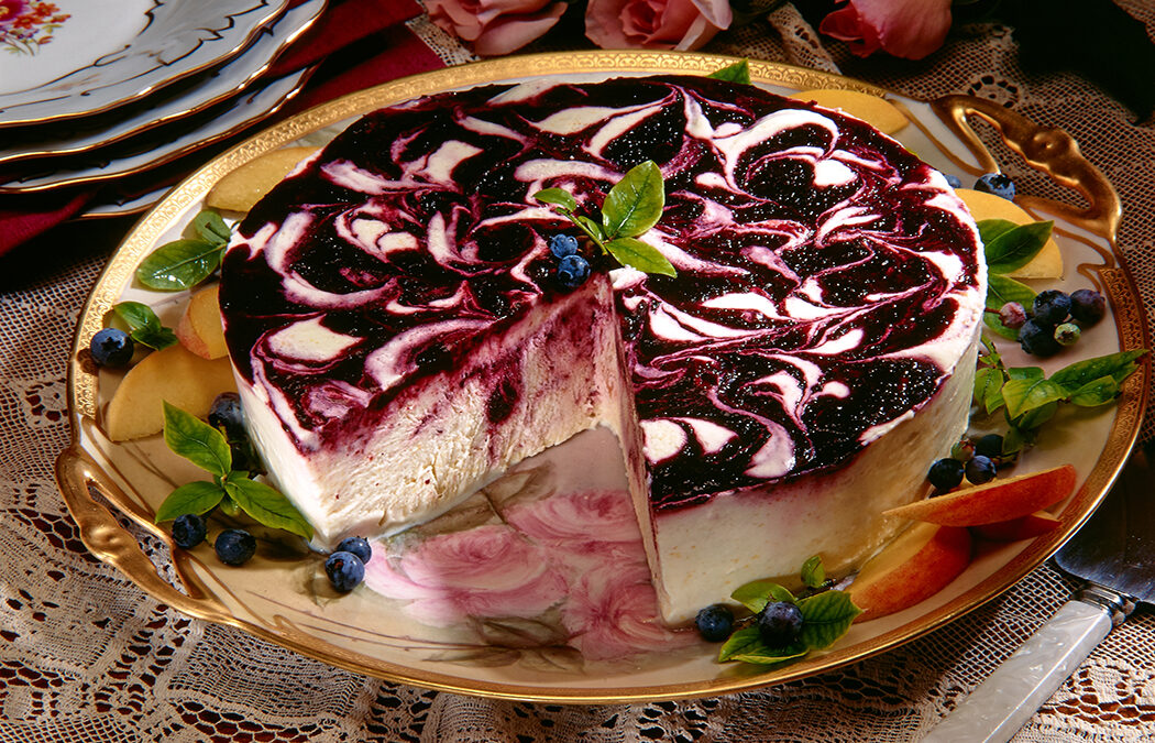 Frozen Peach Mousse with Blueberry Swirl
