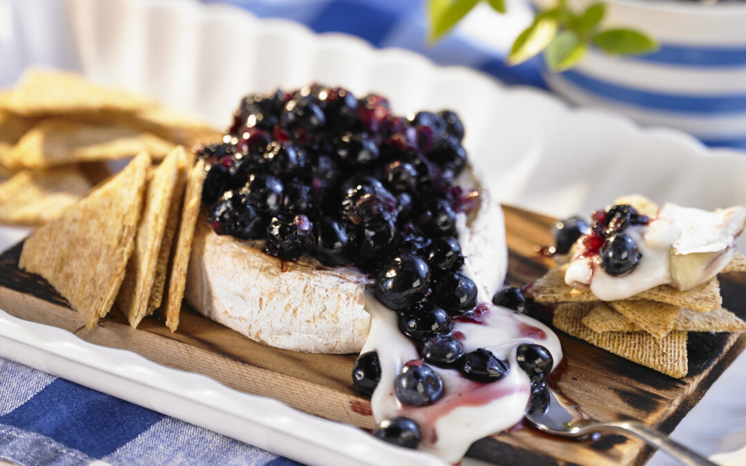 Planked Brie with Blueberry Chutney