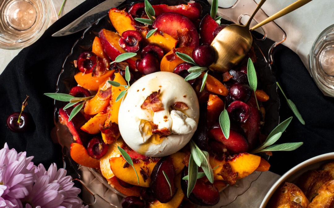 Burrata Stone Fruit Salad with Maple Bacon Vinaigrette