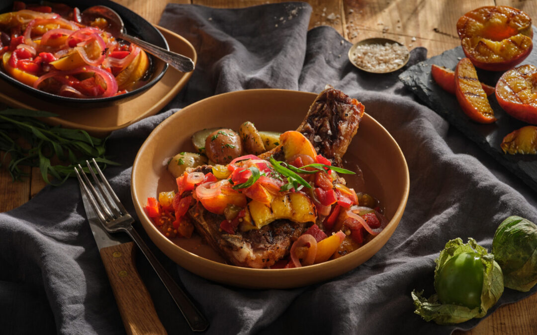 Grilled Veal Chops with Smoky Peach Relish
